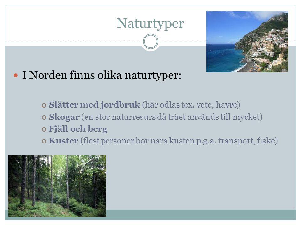 Naturtyper I Norden finns olika naturtyper: Slätter med jordbruk (här odlas tex. vete, havre) Skogar (en stor naturresurs då träet används till mycket