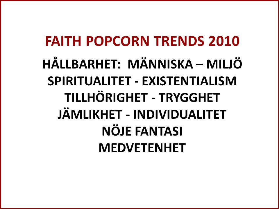 FAITH POPCORN TRENDS 2010 HÅLLBARHET: MÄNNISKA – MILJÖ SPIRITUALITET - EXISTENTIALISM TILLHÖRIGHET - TRYGGHET JÄMLIKHET - INDIVIDUALITET NÖJE FANTASI MEDVETENHET