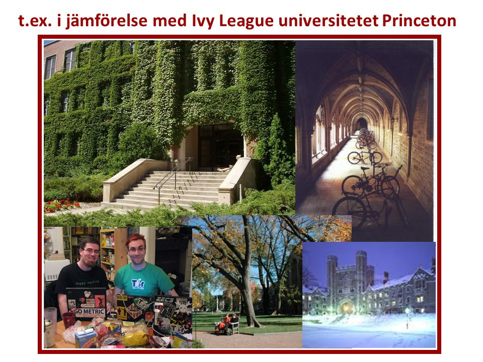 t.ex. i jämförelse med Ivy League universitetet Princeton