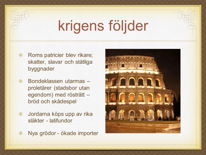 krigens följder Roms patricier blev rikare; skatter, slavar och ståtliga byggnader Bondeklassen utarmas – proletärer (stadsbor utan egendom) med röstr