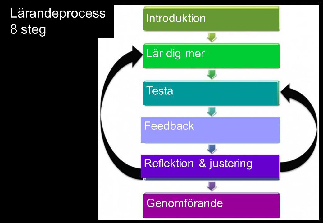 Lärandeprocess 8 steg Introduktion Lär dig mer Testa Feedback Reflektion & justering Genomförande