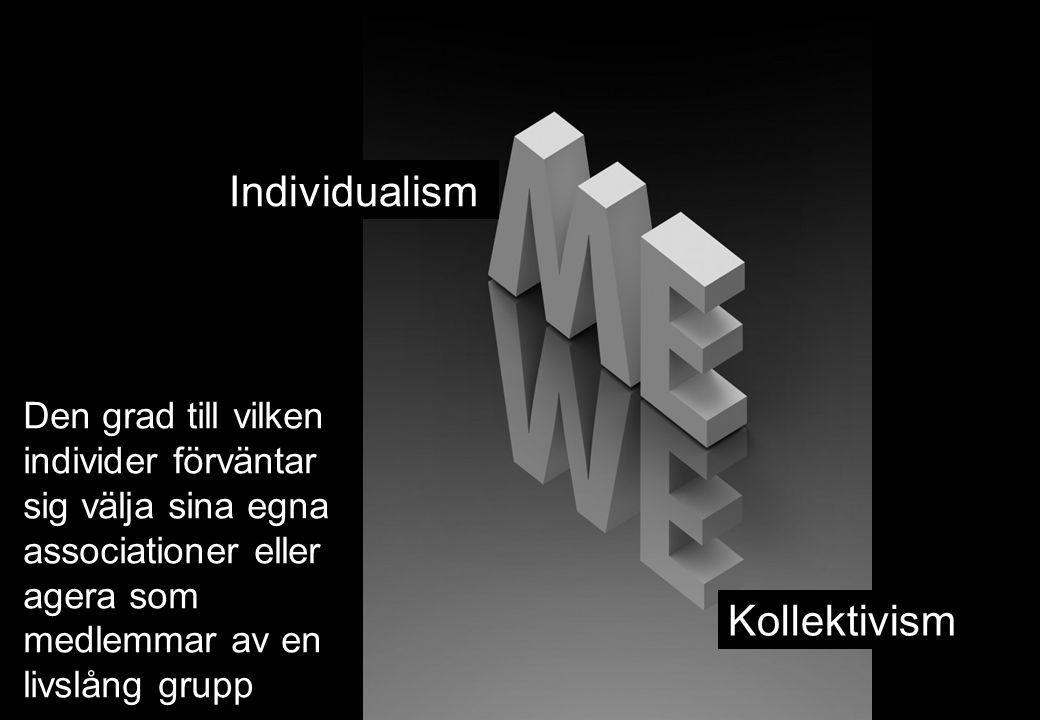 Individualism Kollektivism Den grad till vilken individer förväntar sig välja sina egna associationer eller agera som medlemmar av en livslång grupp