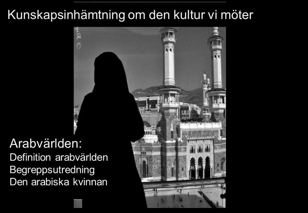 Kunskapsinhämtning om den kultur vi möter Arabvärlden: Definition arabvärlden Begreppsutredning Den arabiska kvinnan