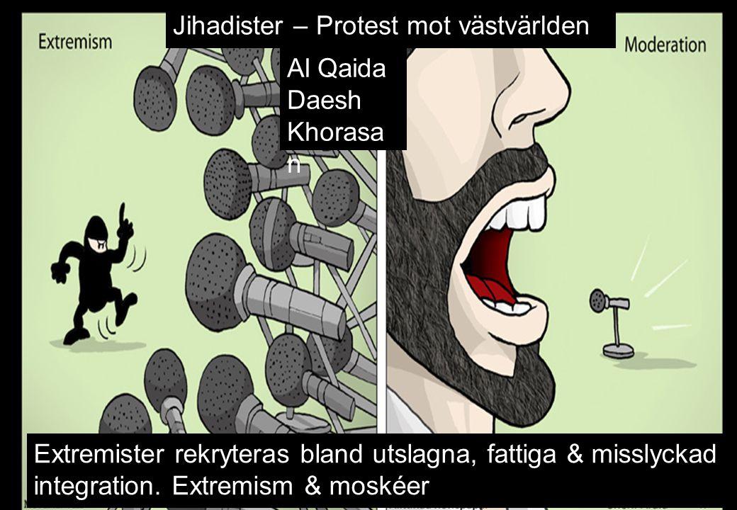 Jihadister – Protest mot västvärlden Extremister rekryteras bland utslagna, fattiga & misslyckad integration. Extremism & moskéer Al Qaida Daesh Khora