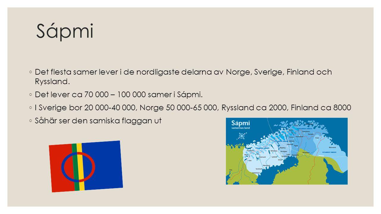 Sápmi ◦ Det flesta samer lever i de nordligaste delarna av Norge, Sverige, Finland och Ryssland. ◦ Det lever ca 70 000 – 100 000 samer i Sápmi. ◦ I Sv