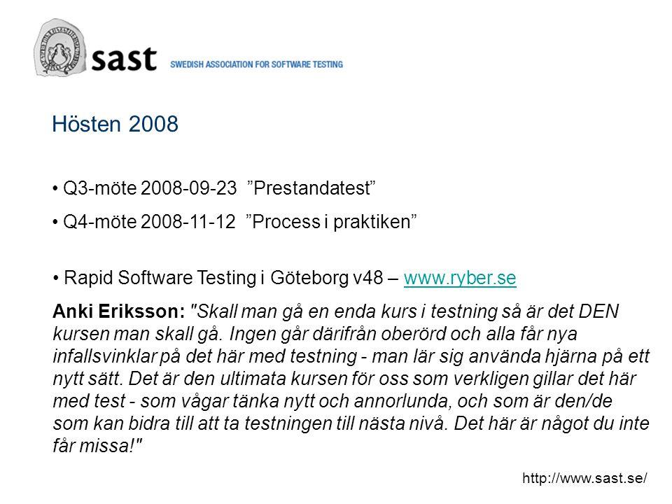 Hösten 2008 Q3-möte 2008-09-23 Prestandatest Q4-möte 2008-11-12 Process i praktiken http://www.sast.se/ Rapid Software Testing i Göteborg v48 – www.ryber.sewww.ryber.se Anki Eriksson: Skall man gå en enda kurs i testning så är det DEN kursen man skall gå.