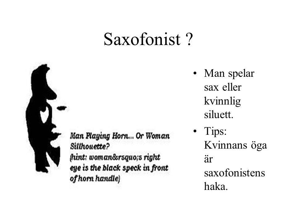 Saxofonist ? Man spelar sax eller kvinnlig siluett. Tips: Kvinnans öga är saxofonistens haka.