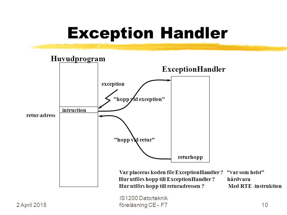 2 April 2015 IS1200 Datorteknik föreläsning CE - F710 Exception Handler Huvudprogram returhopp retur-adress hopp vid exception exception ExceptionHandler Var placeras koden för ExceptionHandler .