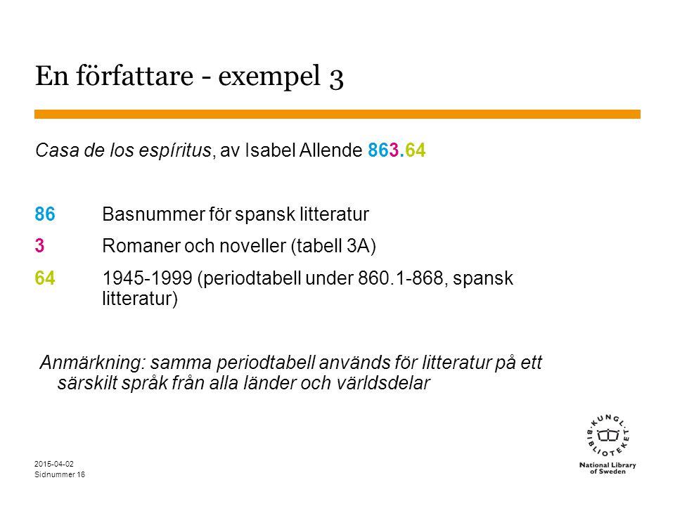 Sidnummer 2015-04-02 16 En författare - exempel 3 Casa de los espíritus, av Isabel Allende 863.64 86 Basnummer för spansk litteratur 3Romaner och nove