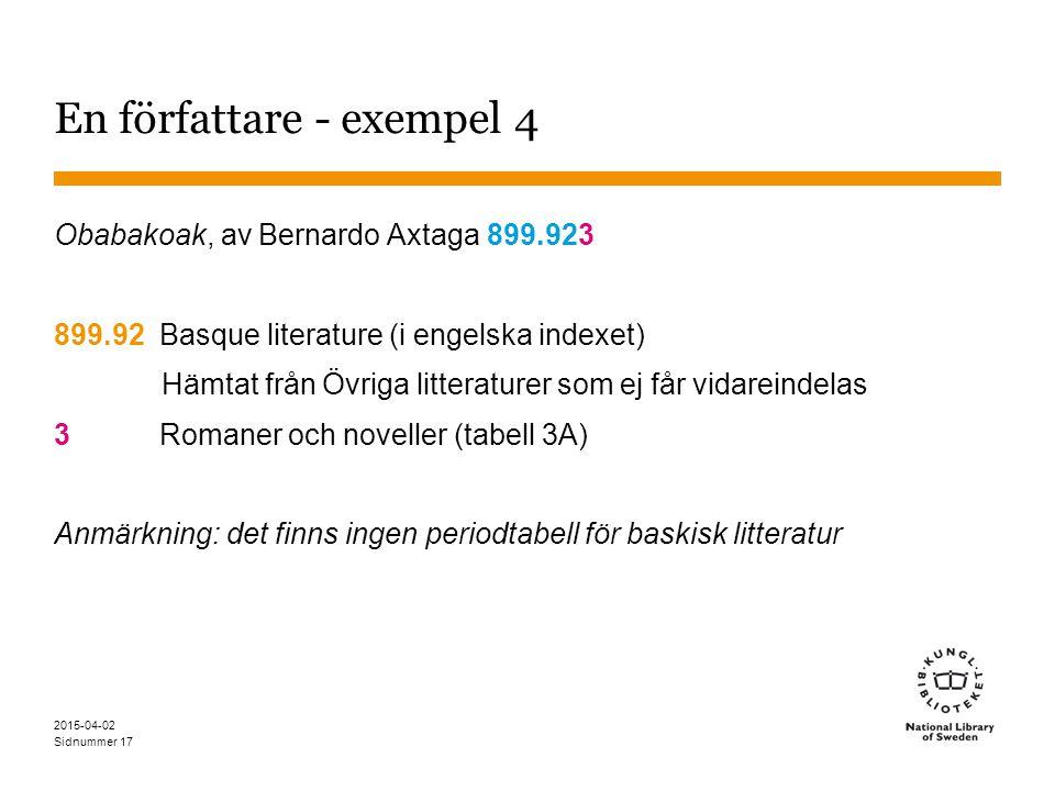 Sidnummer 2015-04-02 17 En författare - exempel 4 Obabakoak, av Bernardo Axtaga 899.923 899.92Basque literature (i engelska indexet) Hämtat från Övrig
