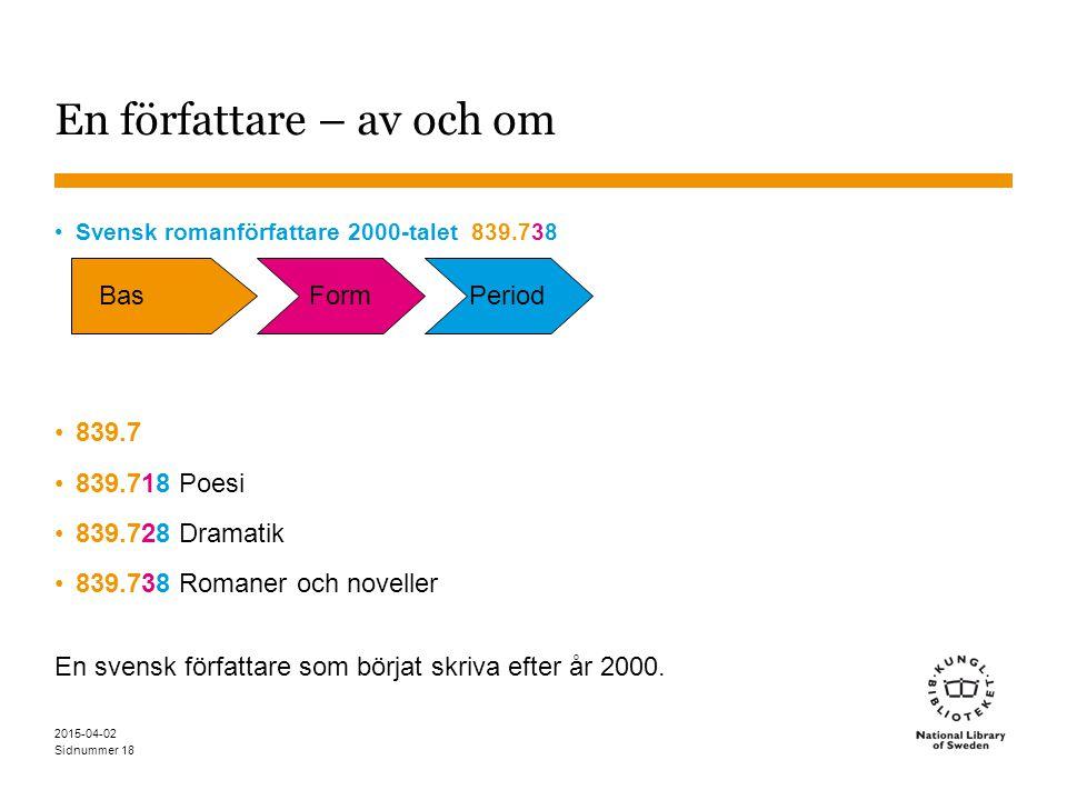 Sidnummer 2015-04-02 18 En författare – av och om Svensk romanförfattare 2000-talet 839.738 839.7 839.718 Poesi 839.728 Dramatik 839.738 Romaner och n