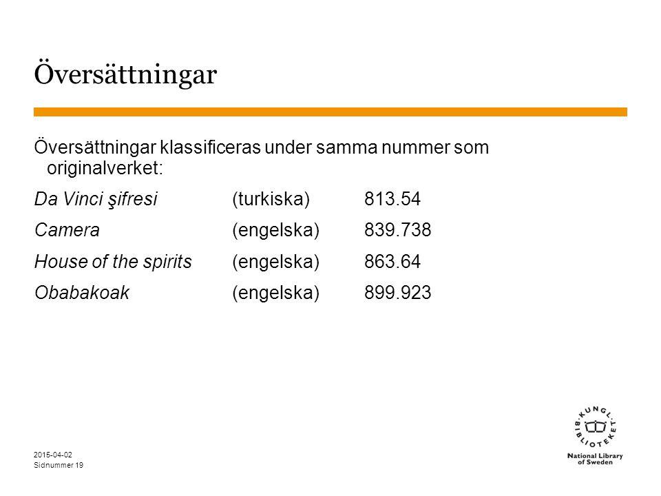 Sidnummer 2015-04-02 19 Översättningar Översättningar klassificeras under samma nummer som originalverket: Da Vinci şifresi(turkiska)813.54 Camera(eng