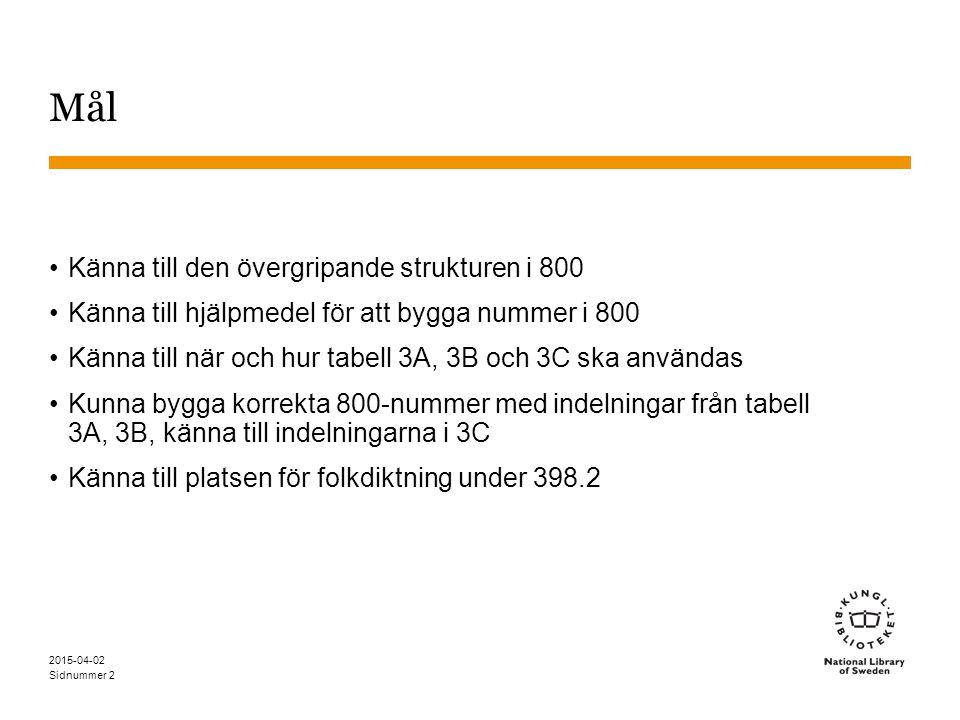Sidnummer 2015-04-02 2 Mål Känna till den övergripande strukturen i 800 Känna till hjälpmedel för att bygga nummer i 800 Känna till när och hur tabell