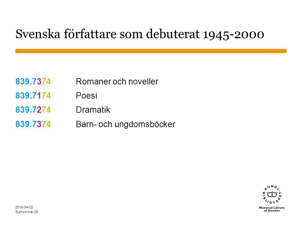 Sidnummer 2015-04-02 25 Svenska författare som debuterat 1945-2000 839.7374Romaner och noveller 839.7174Poesi 839.7274Dramatik 839.7374Barn- och ungdo