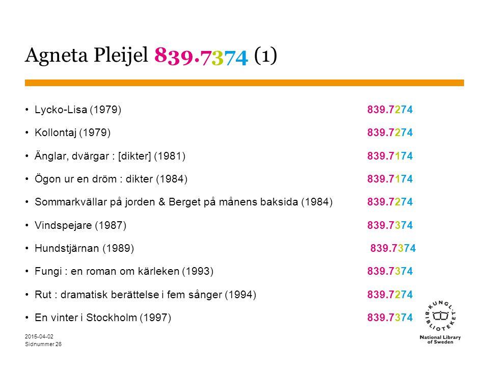 Sidnummer 2015-04-02 26 Agneta Pleijel 839.7374 (1) Lycko-Lisa (1979) 839.7274 Kollontaj (1979) 839.7274 Änglar, dvärgar : [dikter] (1981) 839.7174 Ög