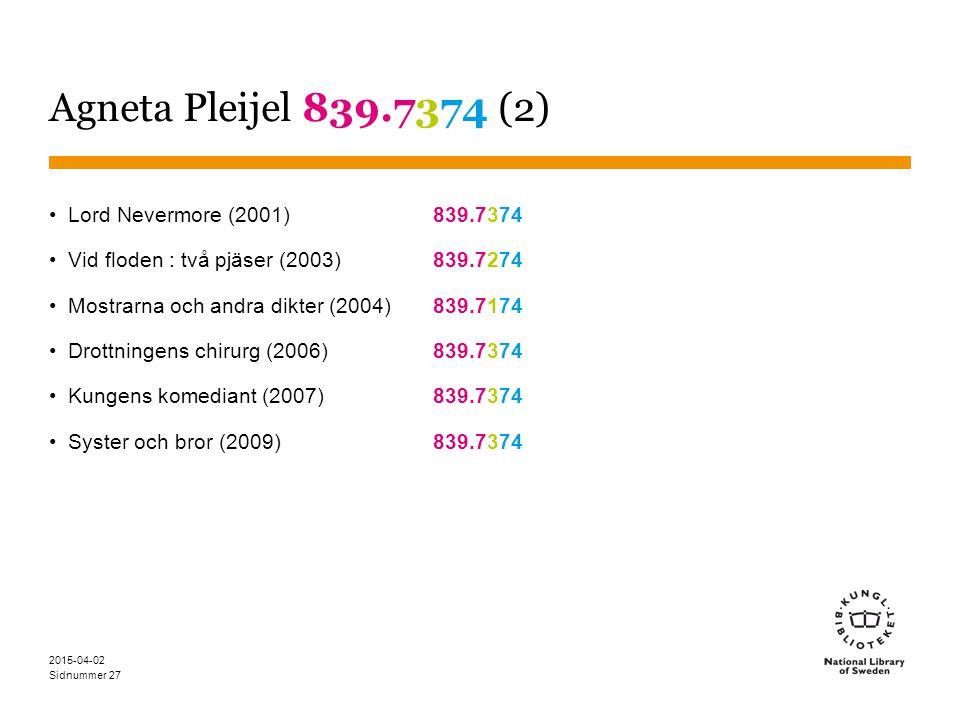 Sidnummer 2015-04-02 27 Agneta Pleijel 839.7374 (2) Lord Nevermore (2001) 839.7374 Vid floden : två pjäser (2003)839.7274 Mostrarna och andra dikter (
