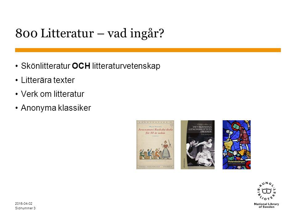 Sidnummer 2015-04-02 3 800 Litteratur – vad ingår? Skönlitteratur OCH litteraturvetenskap Litterära texter Verk om litteratur Anonyma klassiker