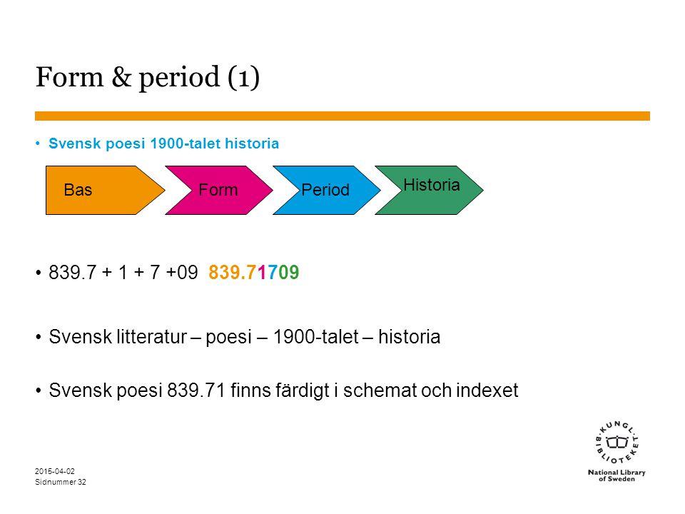 Sidnummer 2015-04-02 32 Form & period (1) Svensk poesi 1900-talet historia 839.7 + 1 + 7 +09 839.71709 Svensk litteratur – poesi – 1900-talet – histor
