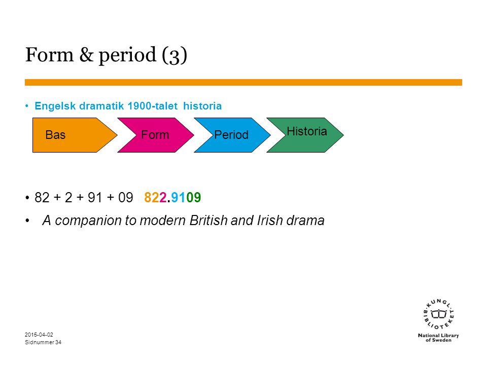 Sidnummer 2015-04-02 34 Form & period (3) Engelsk dramatik 1900-talet historia 82 + 2 + 91 + 09 822.9109 A companion to modern British and Irish drama