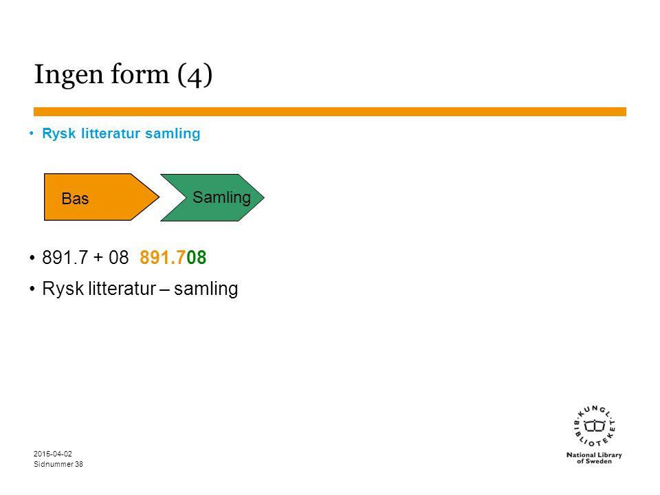 Sidnummer 2015-04-02 38 Ingen form (4) Rysk litteratur samling 891.7 + 08 891.708 Rysk litteratur – samling Bas Samling