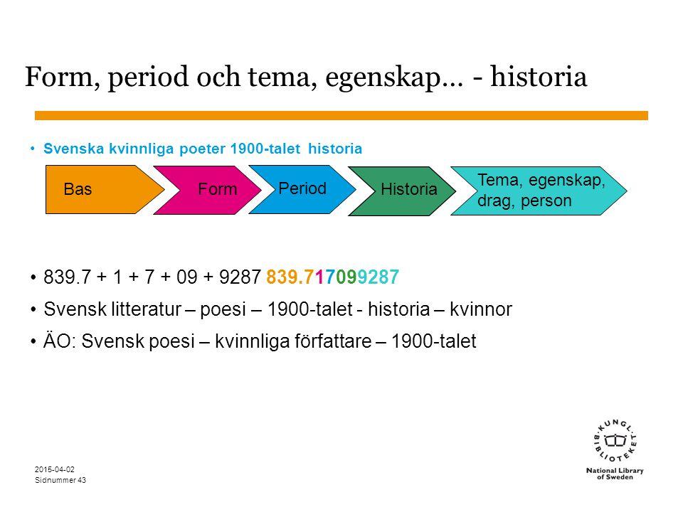 Sidnummer 2015-04-02 43 Form, period och tema, egenskap… - historia Svenska kvinnliga poeter 1900-talet historia 839.7 + 1 + 7 + 09 + 9287 839.7170992
