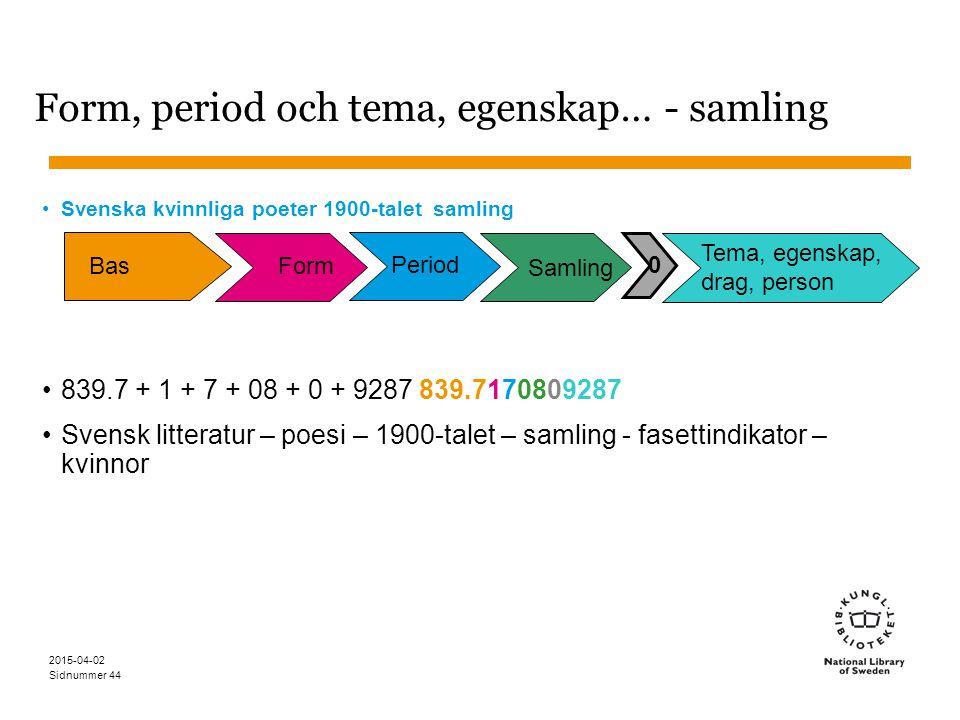 Sidnummer 2015-04-02 44 Form, period och tema, egenskap… - samling Svenska kvinnliga poeter 1900-talet samling 839.7 + 1 + 7 + 08 + 0 + 9287 839.71708