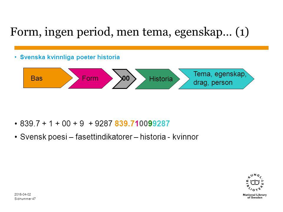 Sidnummer 2015-04-02 47 Form, ingen period, men tema, egenskap… (1) Svenska kvinnliga poeter historia 839.7 + 1 + 00 + 9 + 9287 839.710099287 Svensk p