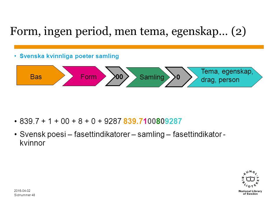 Sidnummer 2015-04-02 48 Form, ingen period, men tema, egenskap… (2) Svenska kvinnliga poeter samling 839.7 + 1 + 00 + 8 + 0 + 9287 839.7100809287 Sven