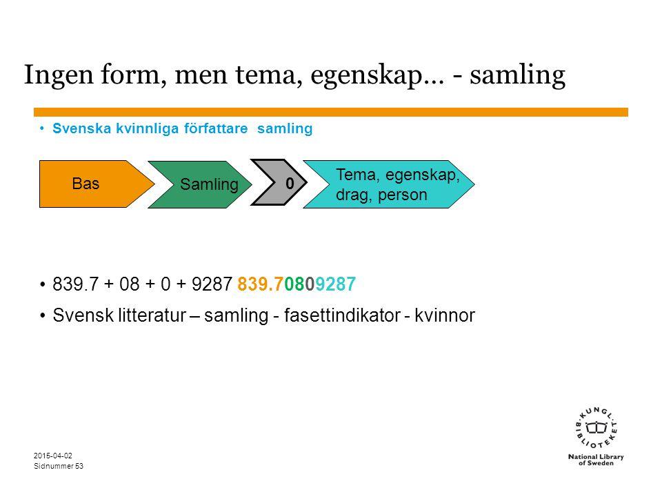 Sidnummer 2015-04-02 53 Ingen form, men tema, egenskap… - samling Svenska kvinnliga författare samling 839.7 + 08 + 0 + 9287 839.70809287 Svensk litte