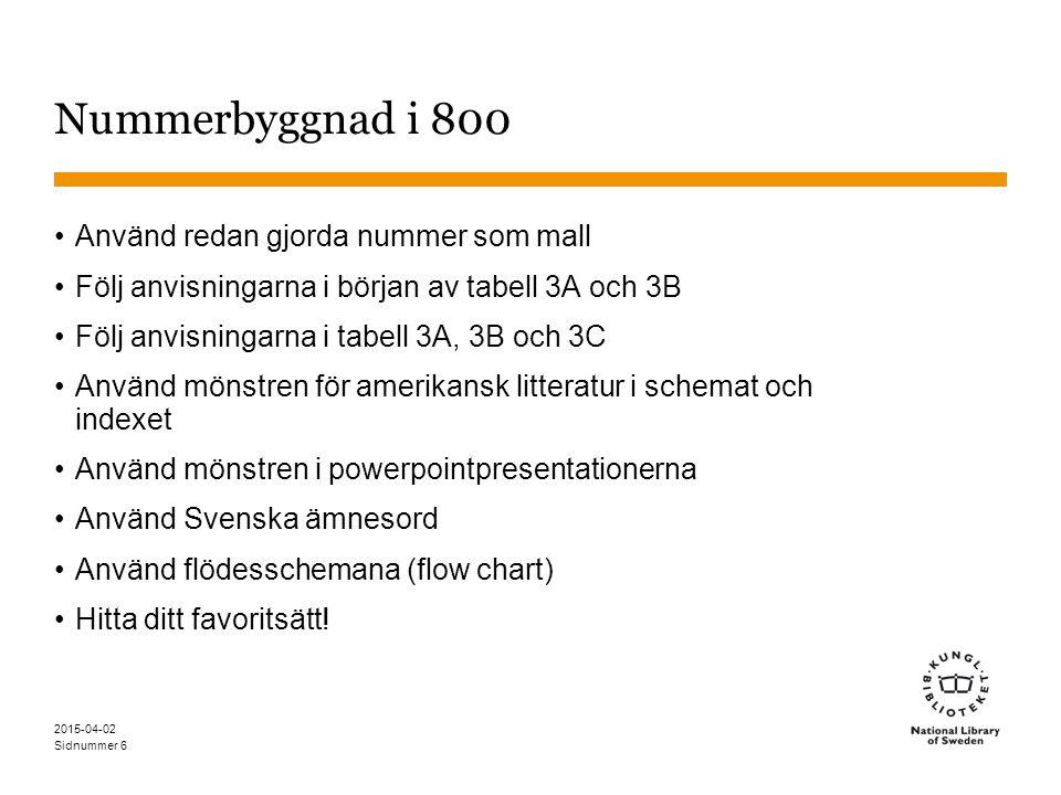 Sidnummer 2015-04-02 6 Nummerbyggnad i 800 Använd redan gjorda nummer som mall Följ anvisningarna i början av tabell 3A och 3B Följ anvisningarna i ta