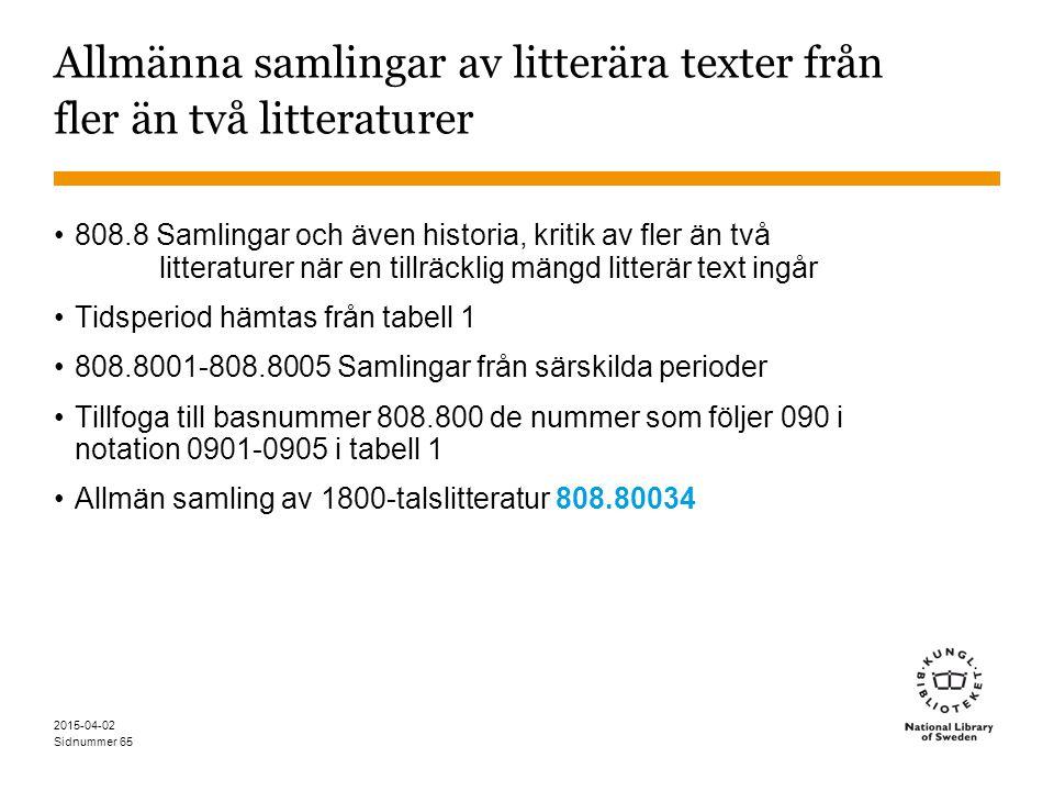 Sidnummer 2015-04-02 65 Allmänna samlingar av litterära texter från fler än två litteraturer 808.8 Samlingar och även historia, kritik av fler än två