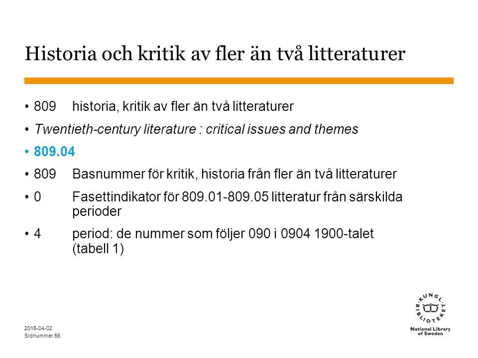 Sidnummer 2015-04-02 66 Historia och kritik av fler än två litteraturer 809historia, kritik av fler än två litteraturer Twentieth-century literature :