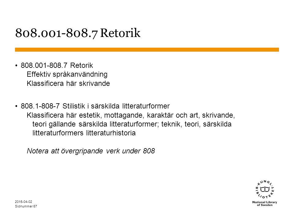 Sidnummer 2015-04-02 67 808.001-808.7 Retorik Effektiv språkanvändning Klassificera här skrivande 808.1-808-7 Stilistik i särskilda litteraturformer K