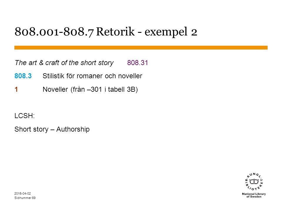 Sidnummer 2015-04-02 69 808.001-808.7 Retorik - exempel 2 The art & craft of the short story808.31 808.3Stilistik för romaner och noveller 1Noveller (
