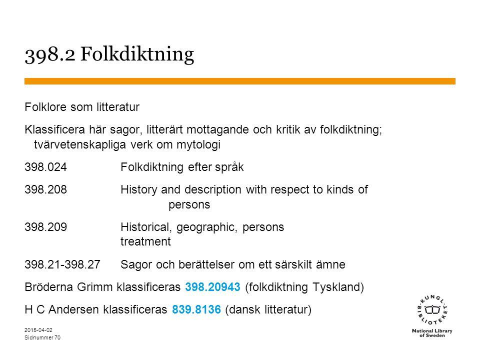 Sidnummer 2015-04-02 70 398.2 Folkdiktning Folklore som litteratur Klassificera här sagor, litterärt mottagande och kritik av folkdiktning; tvärvetens