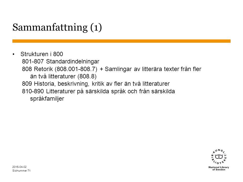 Sidnummer 2015-04-02 71 Sammanfattning (1) Strukturen i 800 801-807 Standardindelningar 808 Retorik (808.001-808.7) + Samlingar av litterära texter fr