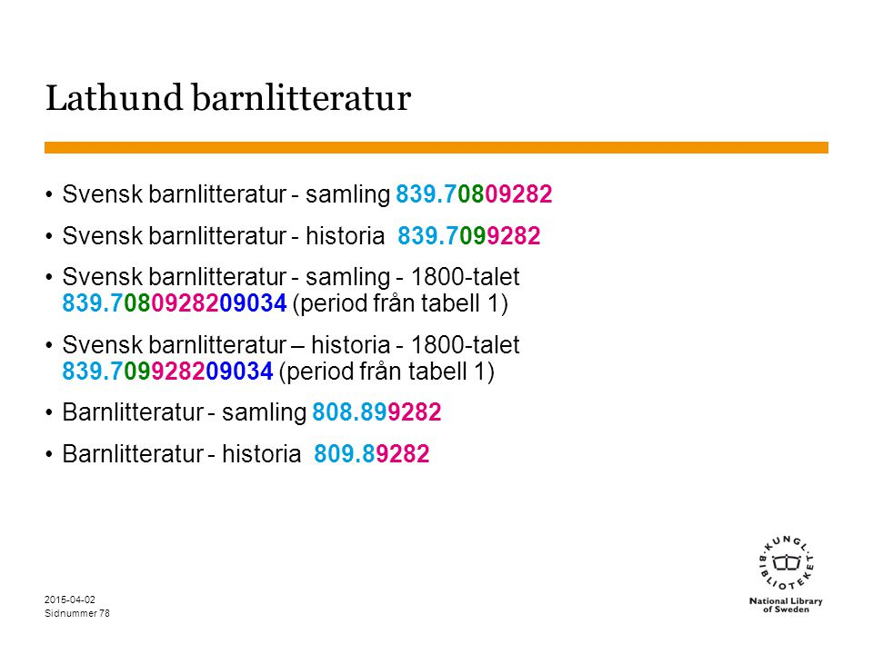 Sidnummer 2015-04-02 78 Lathund barnlitteratur Svensk barnlitteratur - samling 839.70809282 Svensk barnlitteratur - historia 839.7099282 Svensk barnli