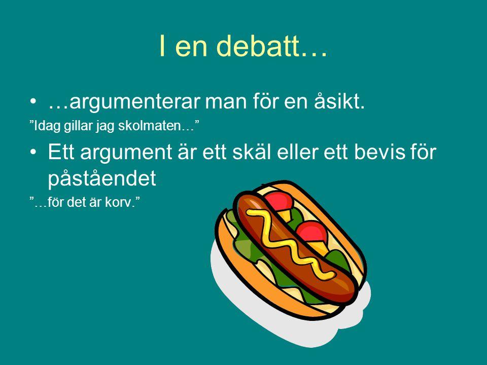 """I en debatt… …argumenterar man för en åsikt. """"Idag gillar jag skolmaten…"""" Ett argument är ett skäl eller ett bevis för påståendet """"…för det är korv."""""""
