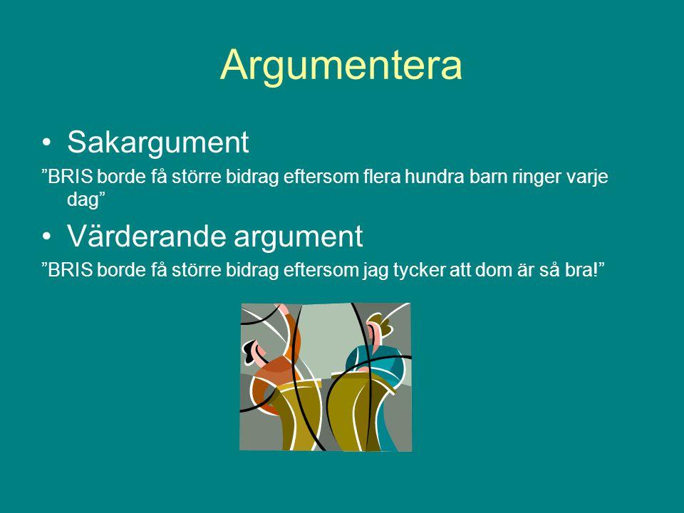 """Argumentera Sakargument """"BRIS borde få större bidrag eftersom flera hundra barn ringer varje dag"""" Värderande argument """"BRIS borde få större bidrag eft"""