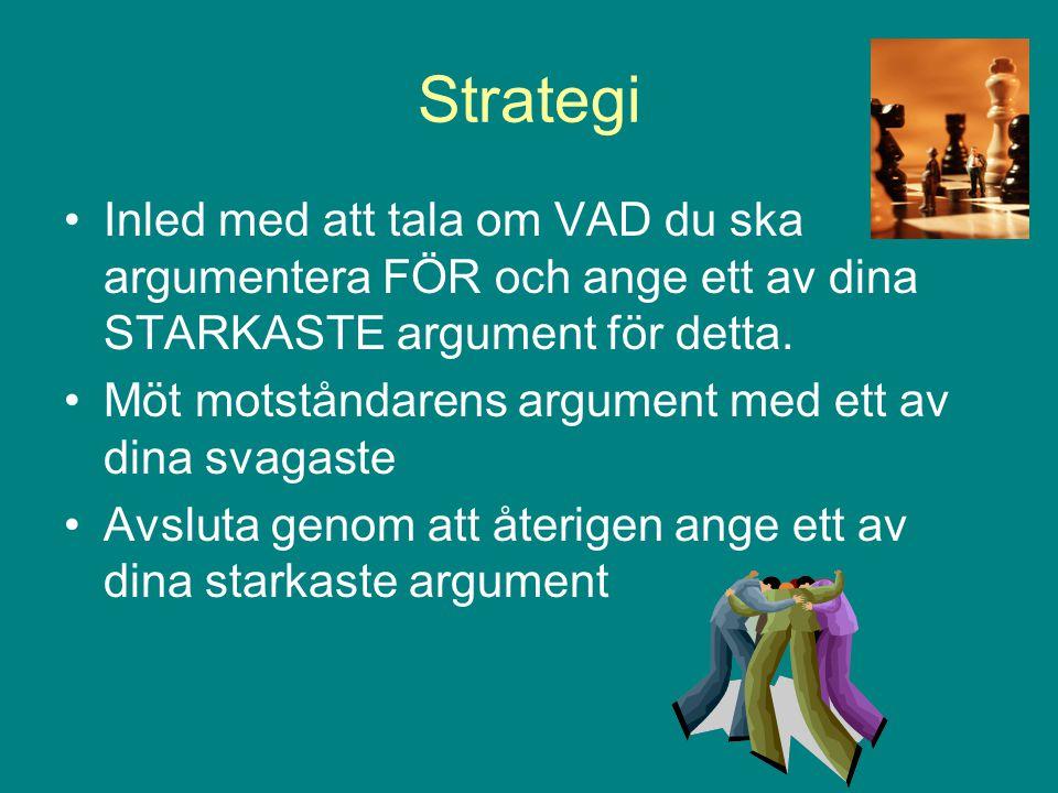 Strategi Inled med att tala om VAD du ska argumentera FÖR och ange ett av dina STARKASTE argument för detta. Möt motståndarens argument med ett av din