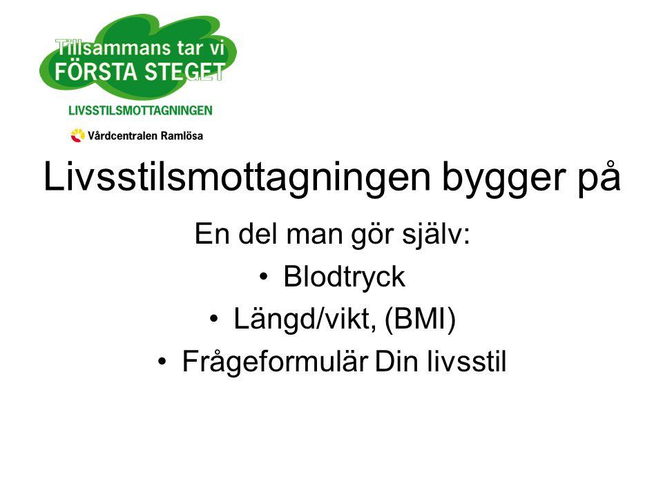 Livsstilsmottagningen bygger på En del man gör själv: Blodtryck Längd/vikt, (BMI) Frågeformulär Din livsstil