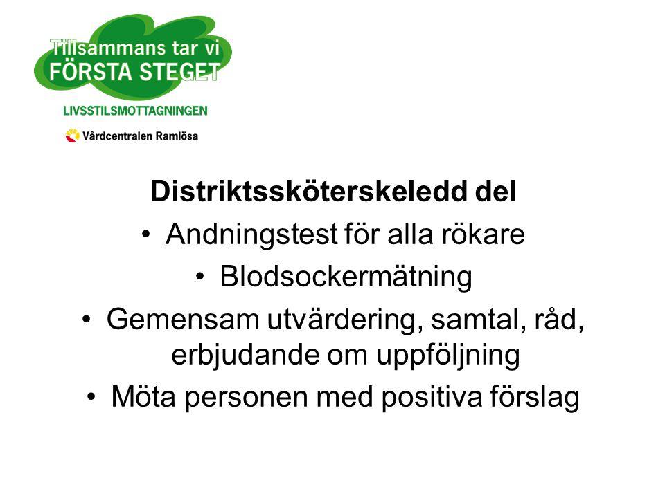 Distriktssköterskeledd del Andningstest för alla rökare Blodsockermätning Gemensam utvärdering, samtal, råd, erbjudande om uppföljning Möta personen med positiva förslag