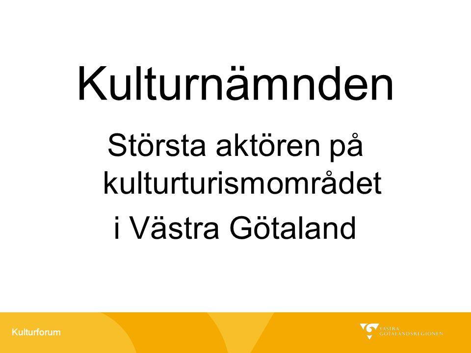 Kulturforum Kulturnämnden Största aktören på kulturturismområdet i Västra Götaland