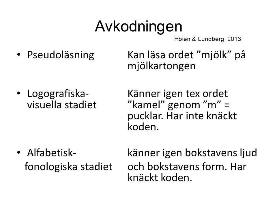 """Avkodningen Höien & Lundberg, 2013 Pseudoläsning Kan läsa ordet """"mjölk"""" på mjölkartongen Logografiska-Känner igen tex ordet visuella stadiet""""kamel"""" ge"""