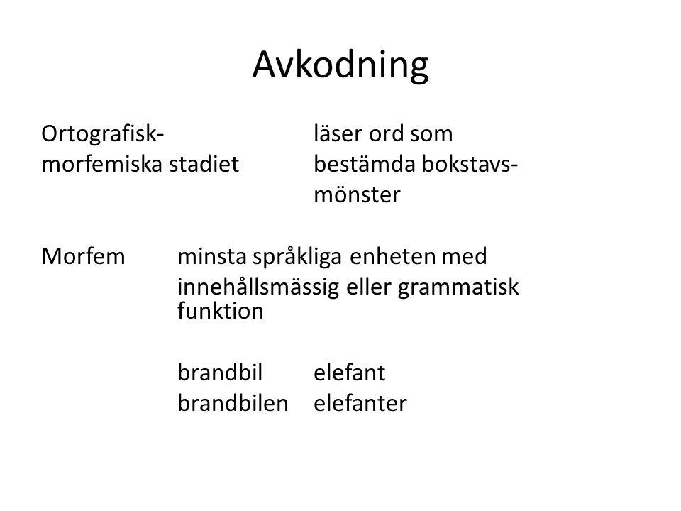 Avkodning Ortografisk-läser ord som morfemiska stadietbestämda bokstavs- mönster Morfemminsta språkliga enheten med innehållsmässig eller grammatisk f