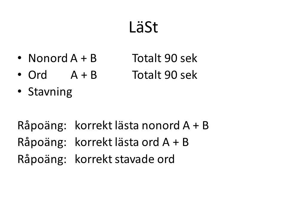 LäSt Nonord A + B Totalt 90 sek Ord A + BTotalt 90 sek Stavning Råpoäng: korrekt lästa nonord A + B Råpoäng:korrekt lästa ord A + B Råpoäng: korrekt s