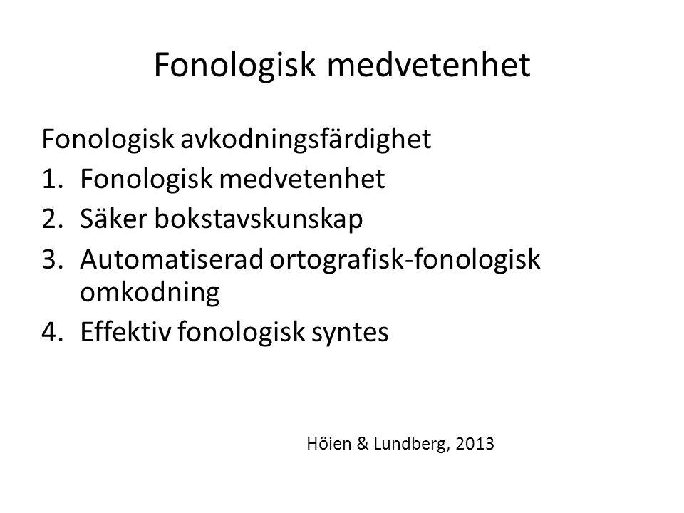 Fonologisk medvetenhet Fonologisk avkodningsfärdighet 1.Fonologisk medvetenhet 2.Säker bokstavskunskap 3.Automatiserad ortografisk-fonologisk omkodnin