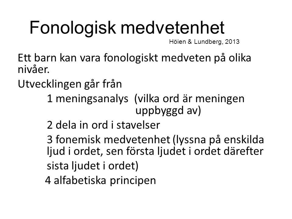 Fonologisk medvetenhet Höien & Lundberg, 2013 Ett barn kan vara fonologiskt medveten på olika nivåer. Utvecklingen går från 1 meningsanalys (vilka ord