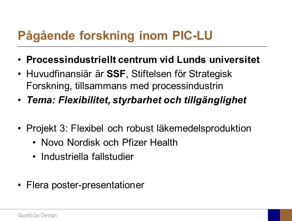 Quality by Design Pågående forskning inom PIC-LU Processindustriellt centrum vid Lunds universitet Huvudfinansiär är SSF, Stiftelsen för Strategisk Fo