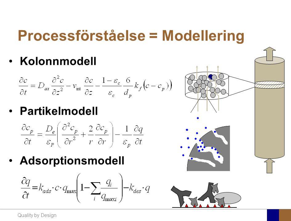 Quality by Design Processförståelse = Modellering Kolonnmodell Partikelmodell Adsorptionsmodell